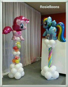 Balloon Pillars, Balloon Tower, Balloon Stands, Balloon Display, My Little Pony Party, My Little Pony Balloons, Balloon Centerpieces, Balloon Decorations, Deco Ballon