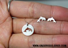 Sterling Silver Dolphin Jewelry Set  Handcrafted by GnJStudio, $65.00
