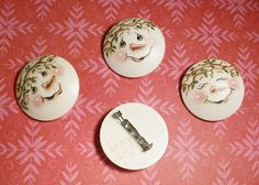 Handpainted Snowman Face Lapel Pins by ToletallyPainted on Etsy