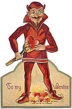 To My Valentine - Love Satan ( Vintage Valentine / Retro  Valentines Day Card )
