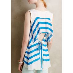 Trendy Striped Back Hollow Out Self-Tie Sleeveless T-Shirt For Women