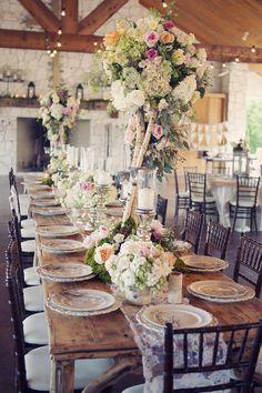 Rustic chic wedding reception decoration ideas   itakeyou.co.uk #wedding #rusticwedding #romantic