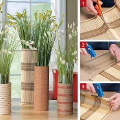 Plain glass vases don't have to stay that way. Learn how you can use inexpensive materials to turn them into attractive room accents. Recycled Furniture, Diy Furniture, Diy Para A Casa, Diys, Popsicle Crafts, Bamboo Crafts, Diy Planters, Diy Home Crafts, Creative Decor