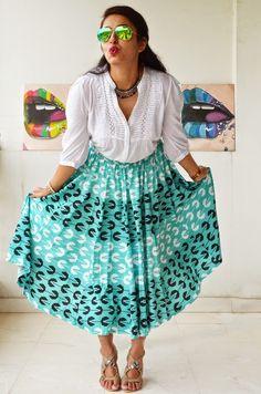 statement print | Pacman print by Yogesh Chaudhary for Stylista | midi skirt