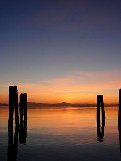 ...in umbria lago trasimeno sunset landscape Perugia