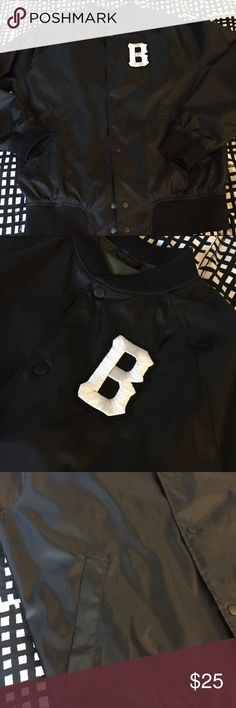 Men's Black Baseball Snap Jacket Custom Baseball Team Jacket w/ initial B...(you can take it off if you want)!!  Lightweight (windbreaker style) Crewneck  Snap on fasten  Great condition  Rarely worn/////////// Tags: Air Jordan AJ Jordan Nike Adidas Vans Men's Women Sneakers Retro Bred Royal Shadow 1s 11s 4s 3s Air Force Bape Comme de gascon Converse White Black Grade School Kids Urban Streetwear Jacket ZARA ASOS Urban Outfitters Jackets & Coats Bomber & Varsity