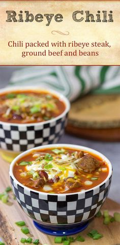 This flavorful Ribeye Chili is packed with smoky, beefy flavor. It's a great way to warm the belly on a cold winter day! Beef Chili Recipe, Roast Beef Recipes, Chili Recipes, Chili Toppings, Curry Stew, Leftover Steak, Grilled Ham, Honey Baked Ham, Slow Cooker Chili