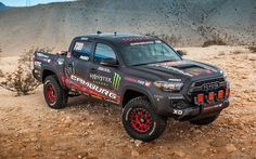The newest addition to Toyota?s TRD collection, the Tacoma TRD Pro Race Truck debuts as a key showpiece at TOYOTA?s booth at the 2016 Specialty Equipment Market Association (SEMA) Show Tacoma Pro, Toyota Tacoma Trd Pro, Toyota Usa, Tacoma Truck, Toyota Hilux, Toyota Trucks, Dodge Trucks, Tacoma Prerunner, Overland Truck