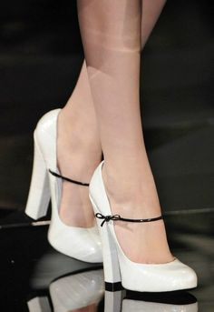 White Maryjane's with tiny black bow tie/strap and chunky heel..✿ܓ Stunning Womens Shoes / , | Fashion design shoes #sergiorossinewyorktimes