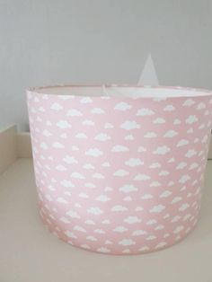Handmade drum lampshade in pink and white cloud fabric. Can be made for ceilings, table lamps or floor lamps.