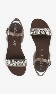 Brown leather slingback sandals bejeweled