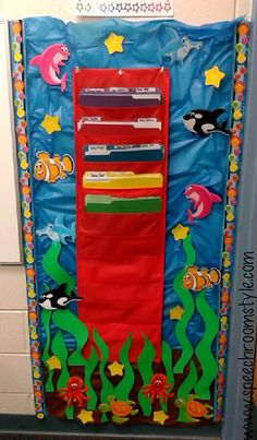 Oceans of Fun bulletin board ideas. See this room at speechroomstyle.com