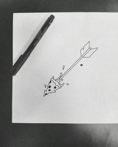 cute dorky pizza arrow flash tattoo design by nico di pisarro