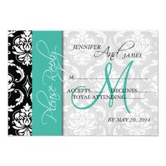 >>>Low Price Guarantee          	Wedding RSVP Cards Damask Turquoise Monogram Personalized Invitations           	Wedding RSVP Cards Damask Turquoise Monogram Personalized Invitations today price drop and special promotion. Get The best buyDiscount Deals          	Wedding RSVP Cards Damask Tur...Cleck Hot Deals >>> http://www.zazzle.com/wedding_rsvp_cards_damask_turquoise_monogram_invitation-161478215438699385?rf=238627982471231924&zbar=1&tc=terrest