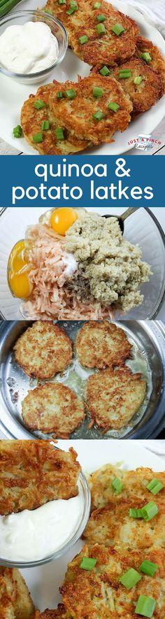 Quinoa and potato latkes are healthier (kinda) than the original! #latke #latkerecipes