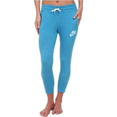 Nike Gym Vintage Capris Women's Casual Pants, Blue ($31) ❤ liked on Polyvore featuring pants, blue, blue capri pants, drawstring pants, elastic waist capris, nike pants and blue capris