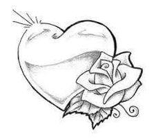 Heart drawing heart and roses tattoo drawings heart tattoos tim jpg Pencil Art Drawings, Cool Art Drawings, Art Drawings Sketches, Tattoo Sketches, Tattoo Drawings, Cute Love Drawings, Name Drawings, Flower Drawings, Outline Drawings