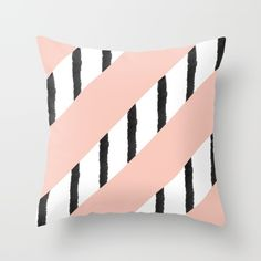 A trendy, modern and unique girly stripes pattern with a pastel pink coral background with black and white hand drawn watercolor stripes. A mix between color block and striped abstract geometric pattern.<br/> modern stripes pattern, pastel coral, pink...