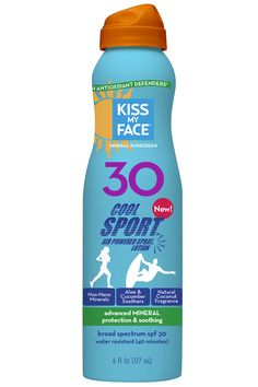 Kiss My Face Cool Sport Mineral Continuous Spray Sunscreen SPF 30 Sunblock, 6 oz Kiss My Face, Kiss Me, Spray Sunscreen, Broad Spectrum, Body Care, Lotion, Minerals, Fragrance, Skin Care