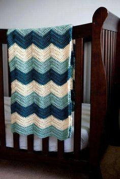 Blue Crochet Baby Blanket: Teal, Cream, and Seafoam Zig Zag Chevron on Etsy, Crochet Afghans, Zig Zag Crochet, Baby Boy Crochet Blanket, Chevron Blanket, Manta Crochet, Baby Boy Blankets, Crochet Blanket Patterns, Crochet Stitches, Crochet Baby