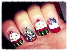 Christmas cupcake designs with jewels full set of acrylic