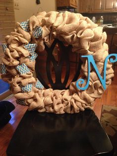 Burlap and cheveron wreath