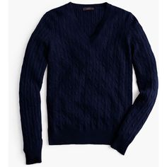 J.Crew Petite Cambridge Cable V-Neck Sweater ($115) ❤ liked on Polyvore featuring tops, sweaters, petite, blue cable knit sweater, blue v neck sweater, cable knit sweater, petite sweaters and petite tops