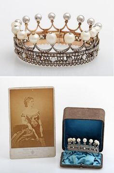 A coronet from the estate of the Countess Pauline von Württemberg, 14k rose gold, silver, about 205 rose cut and old cut diamonds, total approx. 5 ct, 9 larger baroque natural pearls, 5 small pearls, ca. 1880, original case