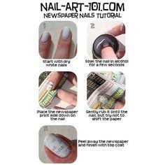 Newspaper nail. http://www.nail-art-101.com/newspaper-nails.html