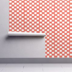 Orange and white checks on Isobar by diseniaz Perfect Wallpaper, Design 24, Cloth Napkins, Custom Wallpaper, How To Apply, How To Make, Textured Walls, Installation Art, Tea Towels