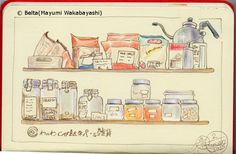 2015_01_03_wanowa_01_s 大阪 天王寺のわのわカフェ。 for this drawing I used : Faber castell polychromos Holbein artists colored pencils Moleskine sketchbook © Belta(Mayumi Wakabayashi)