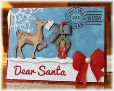 Kathy Roney: Joyfully Made Designs forCottageBLOG: Dear Santa - 10/2/13.  (Dies: Homemade Christmas Gifts - reindeer, mailbox, box, DEAR SANTA words, postmark stamp; Elegant Flurry Snowflake).  (Pin#1: Dies: Cottage Cutz.  Pin+: Christmas: Reindeer...)