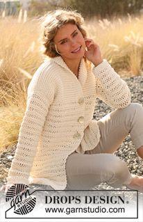 Casaco DROPS tricotado em ponto jarreteira com ms/pts caídas em \Ice\. Do S ao XXXL. DROPS design: Modelo no TT-044 ~ DROPS Design
