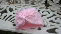 Baby Turban Hat with a Bow Uses, baby wt #3 yarn