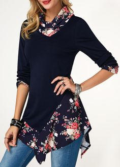 Long Sleeve Navy Asymmetric Hem Printed T Shirt | Rotita.com - USD $25.52