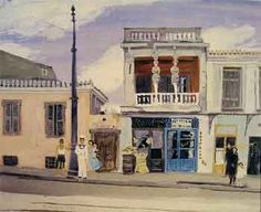 """The """"House with the Karyatids"""" ~by Yannis Tsarouchis (This is a house on Ag. at Theisio, Athens, Greece) Greek Paintings, Paintings I Love, Athens Acropolis, Athens Greece, Greek Art, 10 Picture, Color Of Life, Conceptual Art, Rue"""