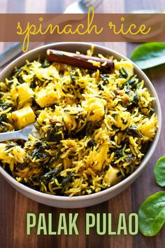 Palak pulao with paneer is an easy, light and fresh pulao recipe that's bursting with the goodness of spinach and Indian cottage cheese. Pair it with a raita (yogurt dip) and salad for a simple and fuss-free meal. Indian Paneer Recipes, Indian Food Recipes, Whole Food Recipes, Vegetarian Recipes, Healthy Recipes, Ethnic Recipes, Cumin Rice Recipe, Rice Dishes