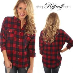 Lovely little plaid top with gold buttons and studded front pockets!