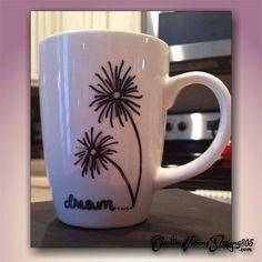 DANDELION DREAM - hand dipped coffee mug