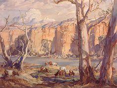 Murray River Cliffs by Hans Heysen Watercolor Landscape, Landscape Art, Landscape Paintings, Watercolor Art, Watercolour Paintings, Landscapes, Australian Painting, Australian Artists, Pierre Auguste Renoir