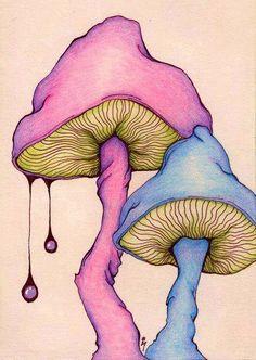 30 Amazing Examples of Doodle Art Mushroom Drawing, Mushroom Art, Kunst Inspo, Art Inspo, Trippy Painting, Painting & Drawing, Drawing Board, Trippy Drawings, Art Drawings