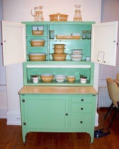 Kitchen Hoosier Cabinet Mint Green Color : Hoosier Cabinet ...