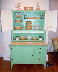 Kitchen Hoosier Cabinet Mint Green Color : Hoosier Cabinet ...