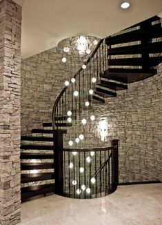 Lights in spiral staircase