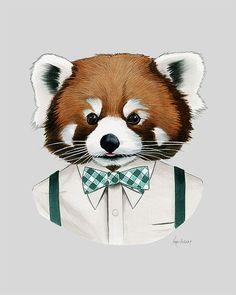Red panda art print  Modern kid art  Pet by berkleyillustration