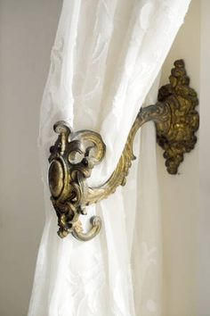 French Versaille inspired curtain holders - French provincial style in Sydney, Australia Curtain Holder, Curtain Ties, French Provincial Furniture, Country Interior Design, French Cottage, French Country, Custom Drapes, Drapery Hardware, Window Coverings