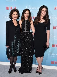 """Kelly Bishop, Alexis Bledel and Lauren Graham attend the premiere of Netflix's """"Gilmore Girls: A Year In The Life"""" at the Regency Bruin Theatre on November 18, 2016 in Los Angeles, California."""