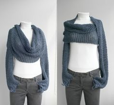 Free Shipping Long sleeve Indigo Denim Blue  Bolero Scarf Shawl Neckwarmer Gift Under 100 Christmas Gift. $79.00, via Etsy.