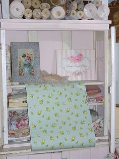 Items Similar To Vintage Wallpaper Jadeite Yellow Rose Buds Journals Crafts  Furniture Yardage On Etsy