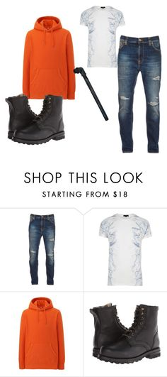 """""""Creepypasta ; hoodie"""" by laughing-alice on Polyvore featuring Nudie Jeans Co., River Island, Uniqlo, Frye, men's fashion and menswear"""